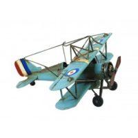 miniature-avion-biplan-en-metal-bleu-l-33-cm